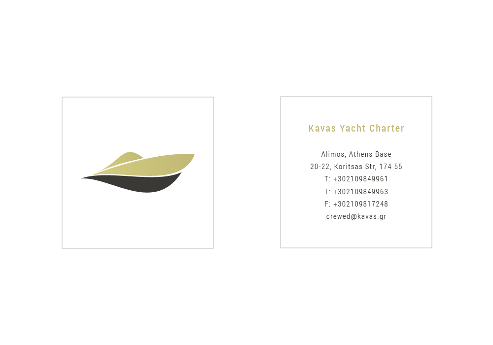 Brand design for luxury boats renting company business card in a square shape on one side there is the brand of yacht charter and on the other all the necessary information reheart Images